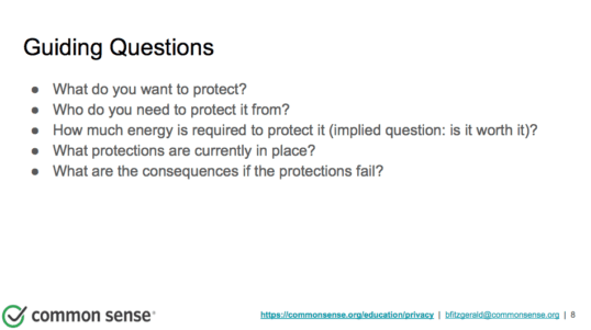 Guiding questions for online security and privacy
