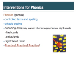 Interventions for phonics